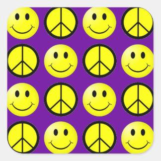 Retro Smiley Peace Square Stickers