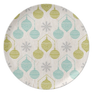 Retro snowflake and ornament -Plate Dinner Plate