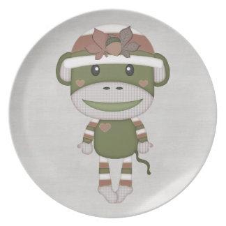 Retro Sock Monkey Dinner Plate