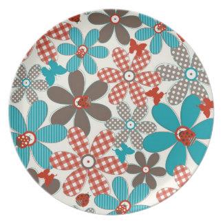 Retro Spring Flowers Plate