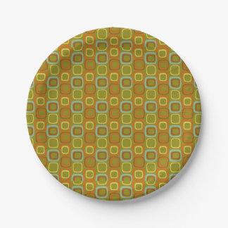 Retro Squares 7 Inch Paper Plate