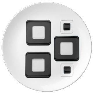 Retro squares on a porcelain plate.