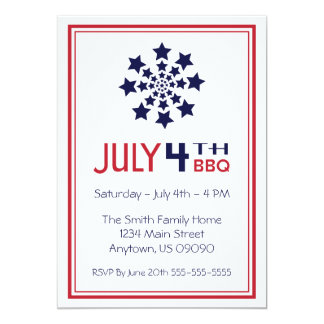 Retro Star Firework Fourth Of July Invitations