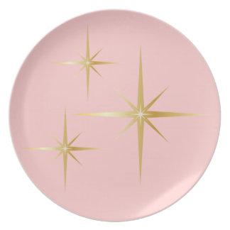 Retro Starburst Pink Dinner Plate