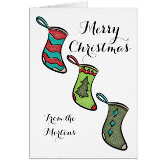 Retro Stockings Christmas Card