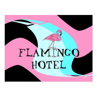 Retro Style Flamingo Hotel Postcard aquas pink