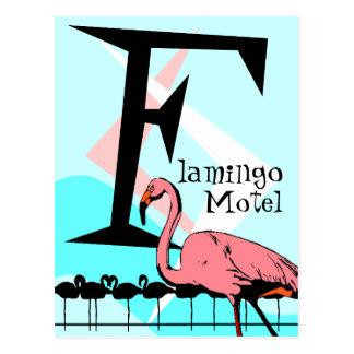 Retro Style Flamingo Lounge Postcard aquas pink