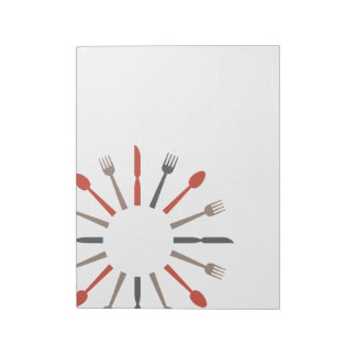 retro style silverware design notepad