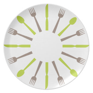 retro style silverware design plate