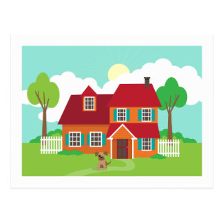 Retro Suburb House New Home Change of Address Postcard