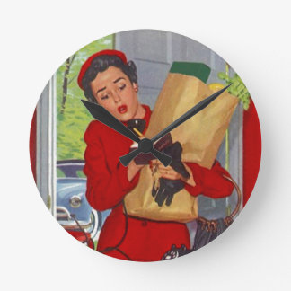 Retro Suburban Life Burbs Lady Gift Clock Vintage