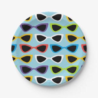 Retro sunglasses paper plate 7 inch paper plate