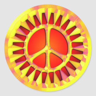 RETRO SUNSHINE PEACE SIGN STICKERS