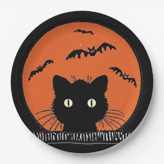 "Retro Surprised Black Cat Halloween 9""Paper Plate 9 Inch Paper Plate"