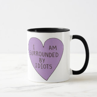 Retro 'Surrounded By Idiots' Novelty Grunge Mug