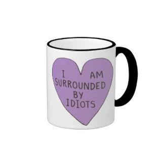 Retro 'Surrounded By Idiots' Novelty Grunge Mug