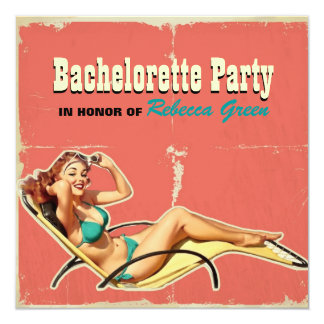 retro swimsuit pin up girl bachelorette party 13 cm x 13 cm square invitation card
