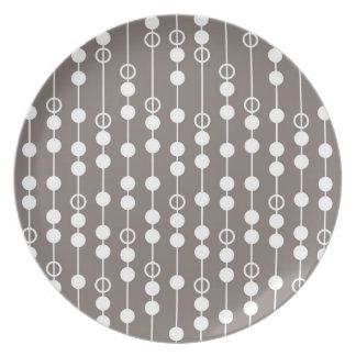 Retro Taupe and White Design Plate
