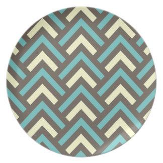 Retro Teal Blue Chevron Stripes Pattern Party Plates