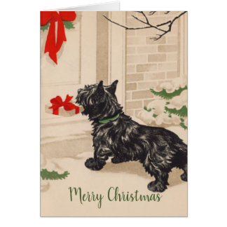Retro Terrier Delivering Christmas Gift Card
