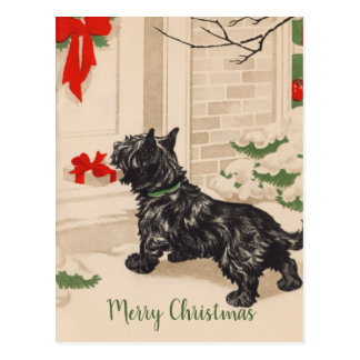 Retro Terrier Delivering Christmas Gift Postcard