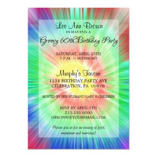 Retro Tie Dye 60th Birthday Party Invitation