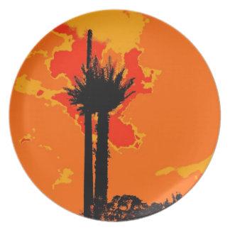 Retro Tree Abstract Art Plate