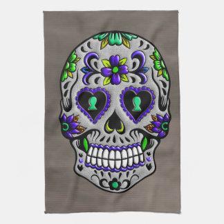 Retro Trendy Day of the Dead Sugar Skull Tea Towel