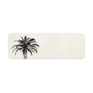 Retro Tropical Island Palm Tree in Black and White Return Address Label