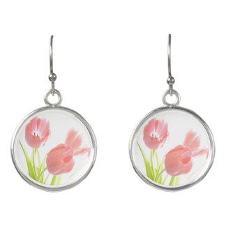 Retro tulip flower rockabilly earrings