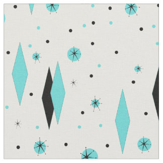Retro Turquoise Diamonds & Starbursts Fabric