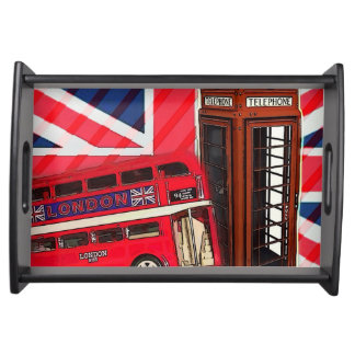 Retro Union Jack London Bus red telephone booth Serving Tray