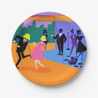 Retro Urban Rooftop Party Paper Plate 7 Inch Paper Plate