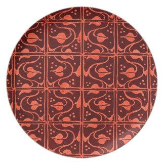 Retro Vines Orange Plate