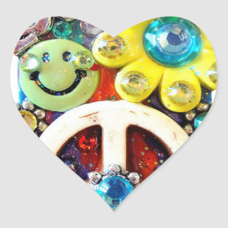 Retro Vintage Abstract Peace Smile Face Heart Sticker