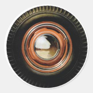 Retro Vintage Auto Car Big Old Tire Round Sticker