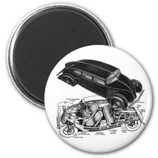 Retro Vintage Car 30's Rear-Engine Futuristic Auto 6 Cm Round Magnet