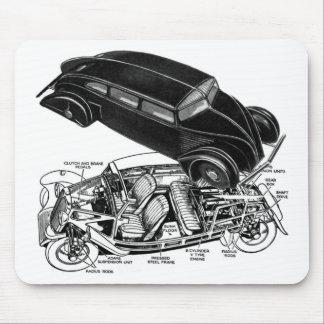 Retro Vintage Car 30's Rear-Engine Futuristic Auto Mouse Pad