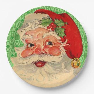 Retro Vintage Christmas Santa Claus Paper Plates 9 Inch Paper Plate