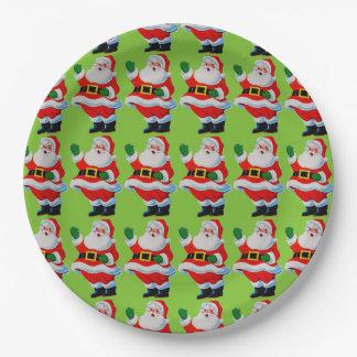Retro Vintage Christmas Waving Santa Paper Plates 9 Inch Paper Plate