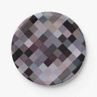 Retro vintage colors cubes pixels pattern 7 inch paper plate