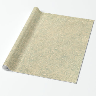 Retro Vintage Creme Leaf Floral Mossy Wrapping Paper