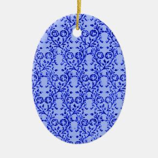 Retro Vintage Floral Blue Oval Ornament