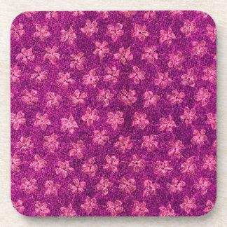 Retro Vintage Floral Magenta Pink Cork Coaster