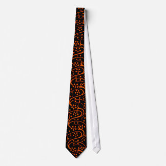 Retro Vintage Floral Swirl Orange Black Tie