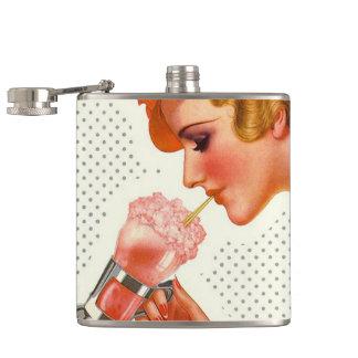 Retro Vintage Fun Strawberry Soda Shop Flask