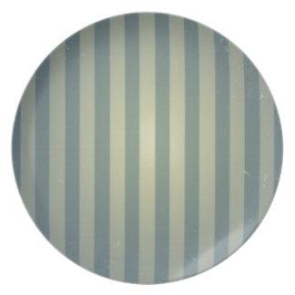 Retro Vintage Grey Cream Stripes Pattern Dinner Plate