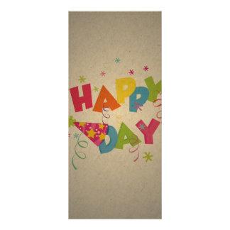 Retro Vintage Happy Birthday Pattern Custom Rack Card