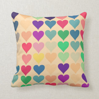 Retro vintage heart tiled heart pattern colorful pillow