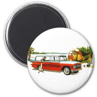 Retro Vintage Kitsch Auto 60's Station Wagon Trip 6 Cm Round Magnet